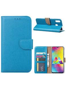 Ntech Ntech Portemonnee hoesje met Pasjesruimte voor Samsung Galaxy M20 - Blauw