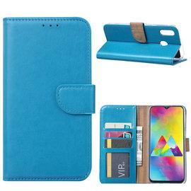Ntech Ntech Portemonnee Hoes / met Opbergvakjes & Magneetflapje voor Samsung Galaxy M20 - Blauw