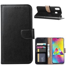 Ntech Ntech Portemonnee Hoes / met Opbergvakjes & Magneetflapje voor Samsung Galaxy M20 - Zwart