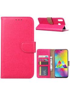 Ntech Ntech Portemonnee hoesje met Pasjesruimte voor Samsung Galaxy M20 - Roze