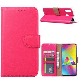 Ntech Ntech Portemonnee Hoes / met Opbergvakjes & Magneetflapje voor Samsung Galaxy M20 - Roze