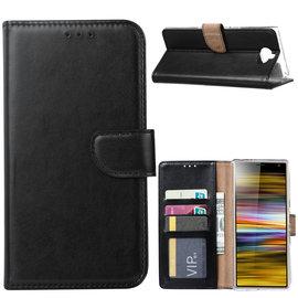 Ntech Ntech Portemonnee hoesje / met Opbergvakjes & Magneetflapje voor Sony Xperia 10 Plus - Zwart