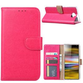 Ntech Ntech Portemonnee Hoes / met Opbergvakjes & Magneetflapje voor Sony Xperia 10 Plus - Roze