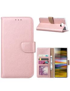 Ntech Ntech Portemonnee hoesje met Pasjesruimte voor Sony Xperia 10 Plus - Rose Goud