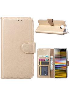 Ntech Ntech Portemonnee hoesje met Pasjesruimte voor Sony Xperia 10 Plus - Goud