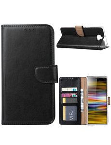 Ntech Ntech Portemonnee hoesje met Pasjesruimte voor Sony Xperia 10 - Zwart
