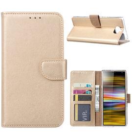 Ntech Ntech Portemonnee hoesje / met Opbergvakjes & Magneetflapje voor Sony Xperia 10 - Goud