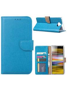 Ntech Ntech Portemonnee hoesje met Pasjesruimte voor Sony Xperia 10 - Blauw