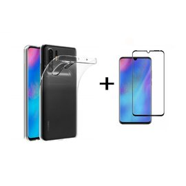 Ntech Ntech Huawei P30 Pro Transparant Hoesje Flexible TPU & Scratch Resistent Silicone Case  + Tempered glass screen protector - Zwart