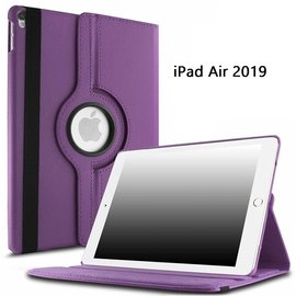 Ntech Ntech Apple iPad Air (2019) 10.5 Draaibare Hoes Multi stand - Paars