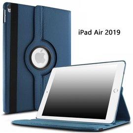 Ntech Ntech Apple iPad Air 10.5 (2019) Draaibaar Hoesje 360 Rotating Multi stand Case - Donker Blauw