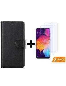 Ntech Ntech Samsung Galaxy A50 Portemonnee hoesje - Zwart Met 2 stuks Glazen screenprotector