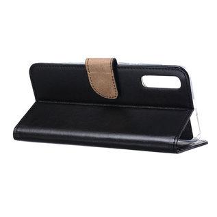 Ntech Ntech Samsung Galaxy A50 Portemonnee hoesje - Zwart Met 2 stuks Tempered Glas Screen protector