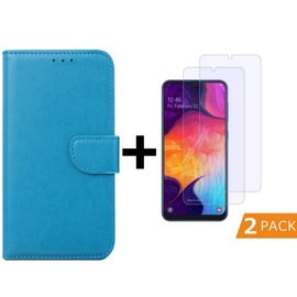 Ntech Ntech Samsung Galaxy A50 Portemonnee hoesje - Turquoise Met 2 stuks Tempered Glas Screen protector