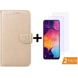 Ntech Ntech Samsung Galaxy A50 Portemonnee hoesje - Goud Met 2 stuks Tempered Glas Screen protector