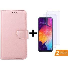 Ntech Ntech Samsung Galaxy A50 Portemonnee hoesje - Rose Goud Met 2 stuks Tempered Glas Screen protector