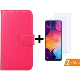 Ntech Ntech Samsung Galaxy A50 Portemonnee hoesje - Pink Met 2 stuks Tempered Glas Screen protector