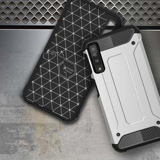 Ntech Ntech Samsung Galaxy A50 Anti Shock Dual Layer Hybrid Armor Carbon hoesje - Zwart