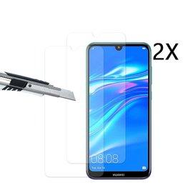 Ntech Ntech 2 Stuks Screenprotector Tempered Glass Glazen Gehard Screen Protector 2.5D 9H (0.3mm) - Huawei Y7 (2019)