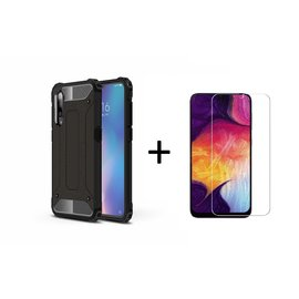 Ntech Ntech Samsung Galaxy A50 Anti Shock Dual Layer Hybrid Armor hoesje Zwart  + Tempered glass screen protector