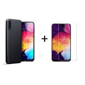Ntech Ntech Hoesje Silicone Hoesje Flexible & Scratch Resistent TPU Case Samsung Galaxy A50 - Zwart + Tempered glass screen protector