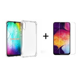 Ntech Ntech Samsung Galaxy A50 Transparent Anti Burst Hoesje / Shock Proof Crystal Clear TPU Case + Tempered glass screen protector