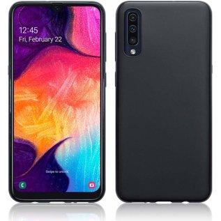 Ntech Ntech Hoesje Silicone Hoesje Flexible & Scratch Resistent TPU Case Samsung Galaxy A50 - Zwart + 2 Stuks Tempered glass screen protector