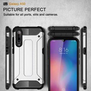 Ntech Ntech Samsung Galaxy A50 Anti Shock Dual Layer Hybrid Armor hoesje Zwart  + Full Cover Tempered glass screen protector Zwart