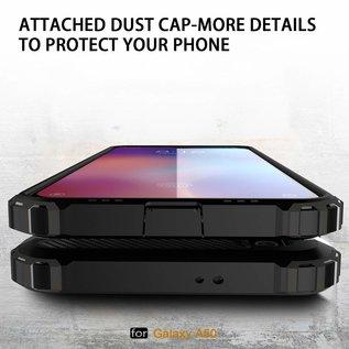 Ntech Ntech Samsung Galaxy A50 Hybrid Armor Hoesje  + Tempered glass - Zwart