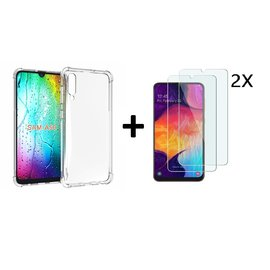 Ntech Ntech Samsung Galaxy A50 Transparent Anti Burst Hoesje / Shock Proof Crystal Clear TPU Case + 2 StuksTempered glass screen protector