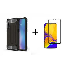 Ntech Ntech Samsung Galaxy A50 Anti Shock Dual Layer Hybrid Armor hoesje Zwart  + Full Cover Tempered glass screen protector Zwart