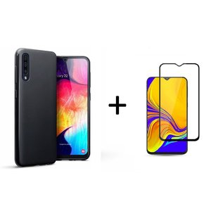 Ntech Ntech Hoesje Silicone Hoesje Flexible & Scratch Resistent TPU Case Samsung Galaxy A50 - Zwart + Full Cover Tempered glass screen protector Zwart