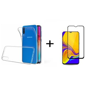 Ntech Ntech Samsung Galaxy A50 Hoesje Durable Flexible & Scratch Resistent Clear TPU Case - Transparant + Full Cover Tempered glass screen protector Zwart