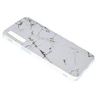 Ntech Ntech Samsung Galaxy A50 Marmer Design Soft TPU Back Cover Hoesje - Wit kleur