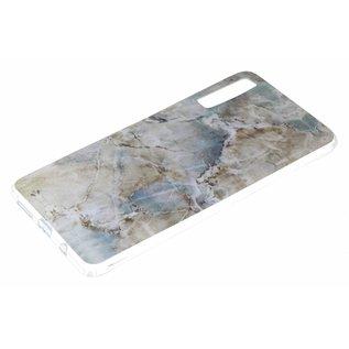 Ntech Ntech Samsung Galaxy A50 Marmer Design Soft TPU Back Cover Hoesje - Bruin kleur