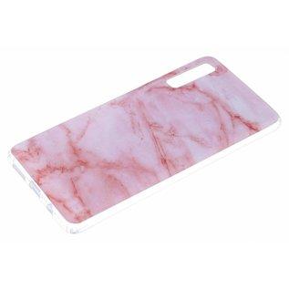 Ntech Ntech Samsung Galaxy A50 Marmer Design Soft TPU Back Cover Hoesje - Roze kleur