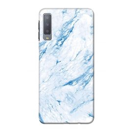Ntech Ntech Samsung Galaxy A50 Marmer Design Soft TPU Back Cover Hoesje -  Blauw kleur