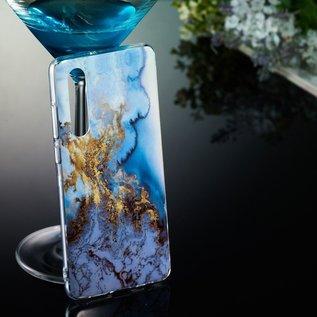 Ntech Ntech Samsung Galaxy A50 Art Marmer Design Soft TPU Back Cover Hoesje - Multi kleur