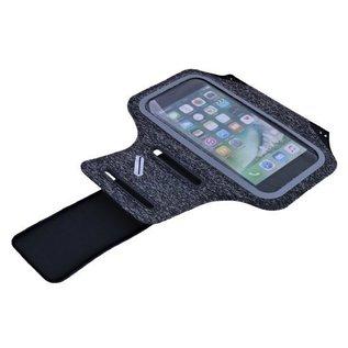 Ntech Ntech Sportarmband  Fabric/Stof met Sleuterhouder voor Samsung Galaxy A20/A30/M30/A50 - Zwart/Grijs