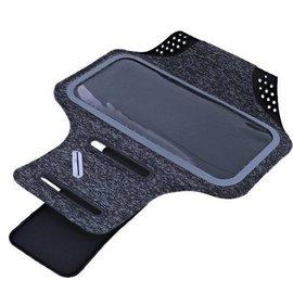 Ntech Ntech Sportarmband  Fabric/Stof met Sleuterhouder voor Samsung Galaxy A40 - Zwart/Grijs