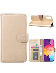 Ntech Ntech Portemonnee hoesje met Pasjesruimte voor Samsung Galaxy A70/A70s - Goud