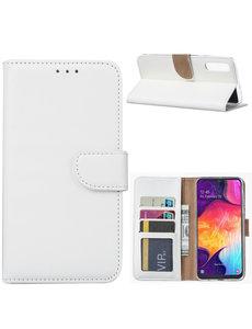 Ntech Ntech Portemonnee hoesje met Pasjesruimte voor Samsung Galaxy A70/A70s - Wit