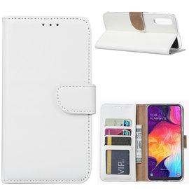 Ntech Ntech Portemonnee hoesje / met Opbergvakjes & Magneetflapje voor Samsung Galaxy A70 - Wit