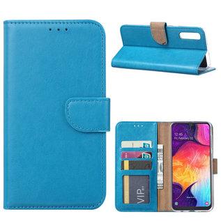 Ntech Ntech Portemonnee hoesje / met Opbergvakjes & Magneetflapje voor Samsung Galaxy A70 - Blauw