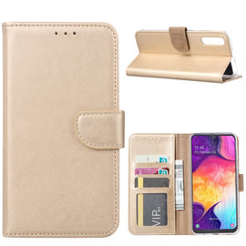 Ntech Ntech Portemonnee hoesje / met Opbergvakjes & Magneetflapje voor Samsung Galaxy A40 - Goud