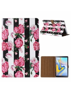 Ntech Ntech Samsung Galaxy Tab A 10.1 SMT580 Vintage Roses & Stripe Design Booktype Kunstleer Hoesje