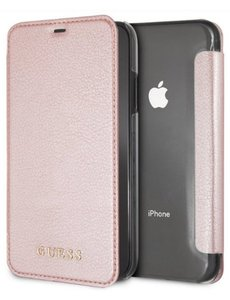 Guess Guess iridiscent Book Case Apple iPhone X/Xs Roze Hoesje