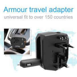 Merkloos Ntech - Armor Travel Adapter  Car Charger + Universele Wereld stekker met 2x USB  Oplader Reisstekker meer dan 150+ landen - Europa -Engeland  - Amerika - Australië - Azië - Afrika - Zuid Amerika - Zwart