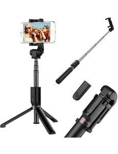 Ntech Ntech 3 in 1 Bluetooth Selfie Stick met Afstandsbediening en Foldable Tripod Stand zwart