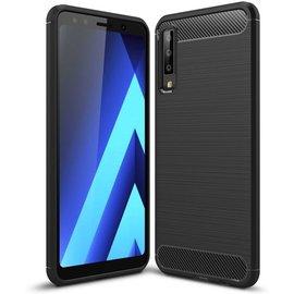 GSM- hoesje Armor Brushed TPU Samsung Galaxy A7 (2018) Hoesje - Zwart